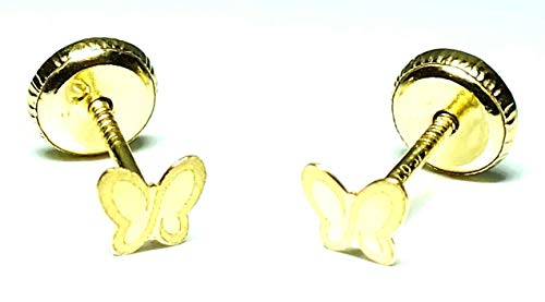 Pendientes oro 18k, para bebe recién nacida, niña o mujer diseño mariposa ideal para recien nacida. Con cierre de rosca de maxima calidad y seguridad