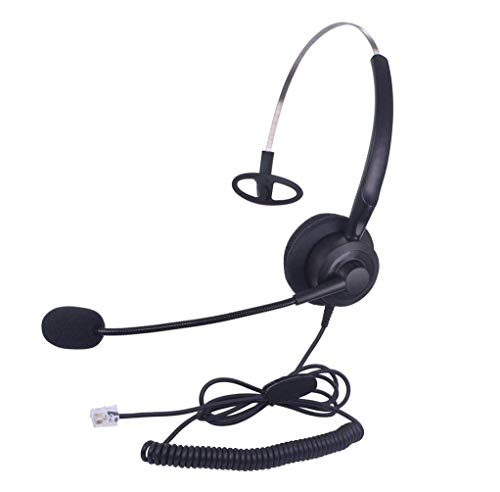 Callez Auriculares Teléfono Fijo RJ9 Mono, Micrófono con Cancelación de Ruido para Avaya Aastra Allworx Adtran Alcatel Lucent AltiGen Comdial Digium Gigaset InterTel Mitel Plantronics MiVoice(C200A2)
