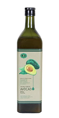 Black & Green Extra Virgin Cold Press Multipurpose Avocado Cooking Oil Bottle, 1000 ml