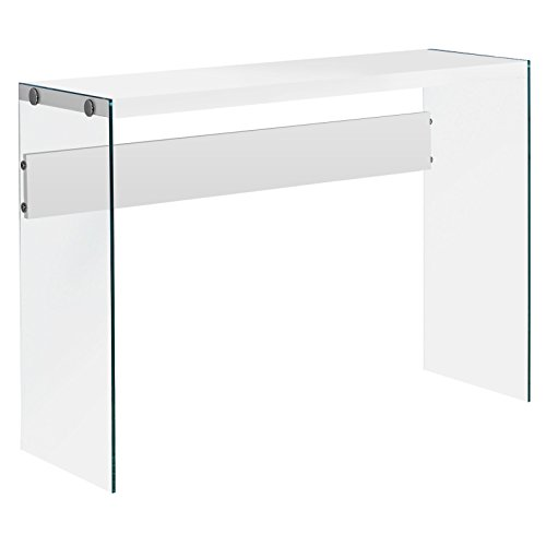 "Monarch specialties , Console Sofa Table, Tempered Glass, Glossy White, 44""L"