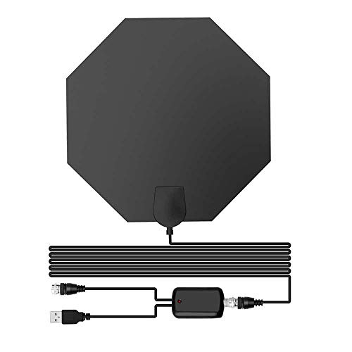 TV Antenna Up to 60 Miles, Antenna TV Digital HD Indoor for Free 4K 1080P VHF UHF TV Channels, Signal Booster Amplifier for High Reception with 13.5ft Cable