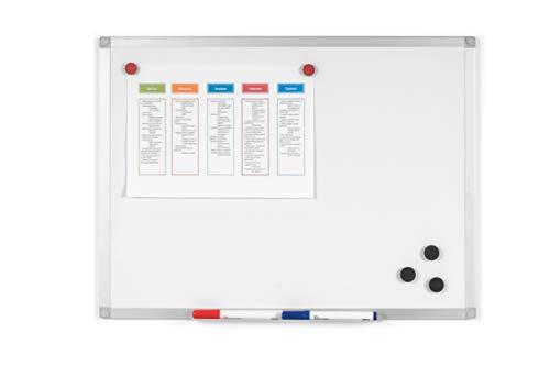 BoardsPlus - Pizarra blanca magnética con marco de aluminio y bandeja, 60 x 45 cm