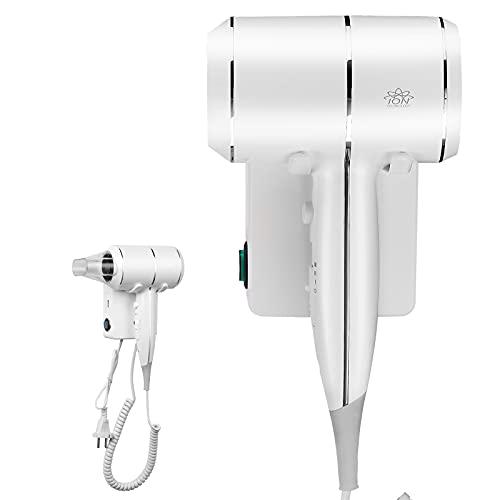 QL Secador de Pelo de Pared con Iones y Protección de Temperatura, 2000W, Secador con Soporte y Puerto USB, para Casa, Hotel, Color Blanco
