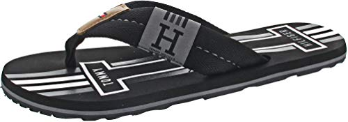 Tommy Hilfiger Herren Badge Textile Beach Sandal Zehentrenner, Schwarz (Black 990), 44 EU