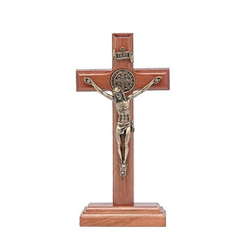 Crucifixo Madeira mesa 12Cm com São Bento Ouro Velho