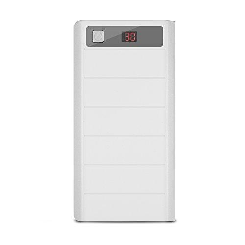 Oumij Portable Charger 20000mAh 8 x 18650 Akkus Power Bank Kit Hülle Dual USB + Typ C + Micro USB-Anschluss für iPhone, Samsung und andere Geräte(Weiß)