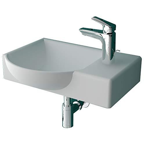 Alpenberger Waschbecken 45 cm Breite mit Überaluf | Pflegeleichtes Keramikbecken Links&Rechts | Kleines & Kompaktes Waschbecken für Gäste WC | Aufsatz- und Einbauwaschbecken geeignet (Links)