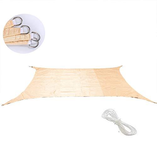 UCARE Toldo rectangular impermeable para patio, protector solar con cuerda gratuita para jardín, terraza, patio, balcón, actividades al aire libre, color crema (2 x 2 m)