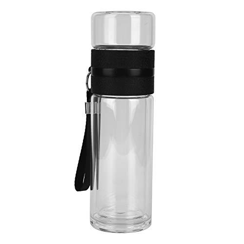 Dekaim Botella de Doble Pared, Botella de separación de té, Botella de Agua de infusor de té de Vidrio de Doble Pared, Suministros para Beber de Oficina en casa