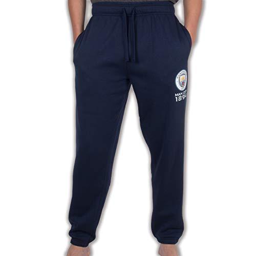 Manchester City FC officiel - Pantalon de jogging - thème football/motif blason/polaire - homme - Bleu marine - 3XL
