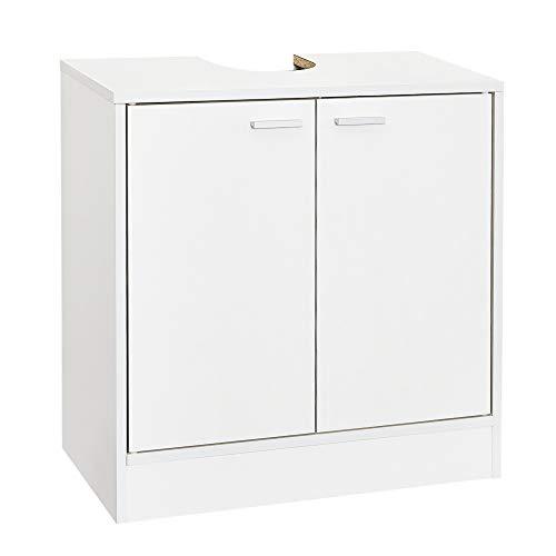 Mondeer - Meuble sous Lavabo de Salle de Bain- 2 Portes, Bois, Mat, Blanc, 60 x 30 x 60.5 cm