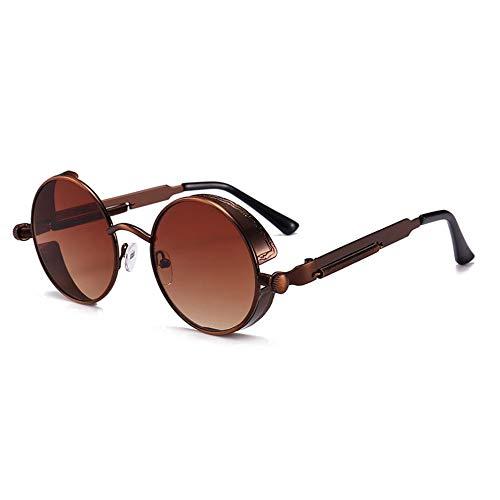 JOEYFAYE Gafas de sol clásicas steampunk, gafas de sol retro redondas para hombre y mujer, monturas de metal, protección UV, aptas para fotografía y compras.