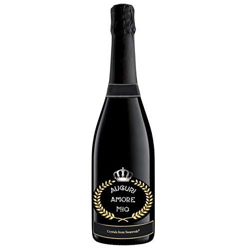 Botella personalizada con auténticos cristales Swarovski – 0,75 l – Regalo para bodas y aniversarios