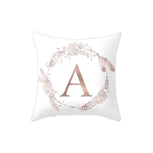 Amesii - Federa per cuscino con motivo floreale e lettera dell'alfabeto, per decorare divano, letto, casa, auto A