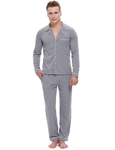 ARBLOVE Pijama clásico para Hombre de algodón Largo con