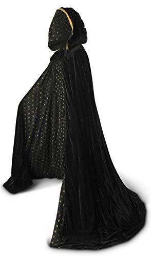 Black Cloak with Hood for Adult Men Women Velvet Hooded Cape Costume Lined in Black Fleur De Lis