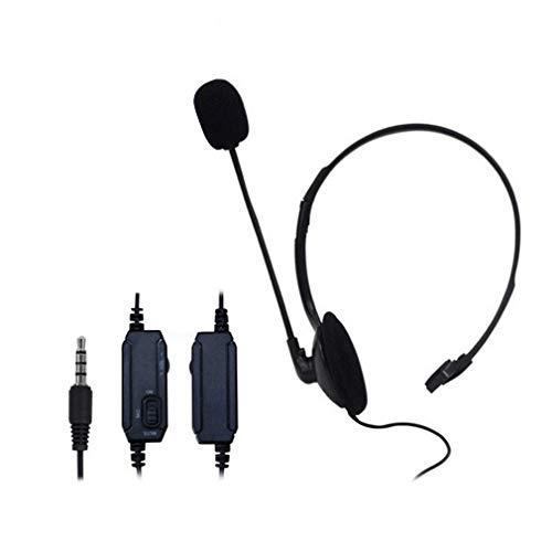 Auriculares para Juegos unilaterales montados en la Cabeza, Interruptor de Silencio, Auriculares Flexibles y duraderos (Negro)