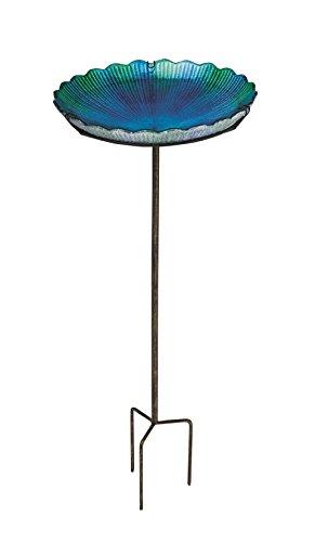 "Evergreen Blue Sea Glass Bird Bath with Metal Stake - 11""L x 11' W x 26.75' H"