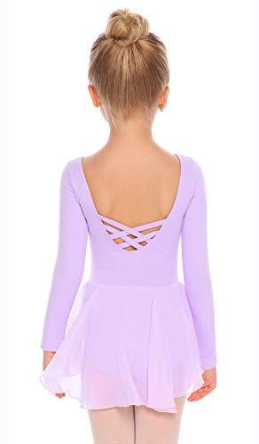 Arshiner Kids Girls Classic Long Sleeve Leotard Dance Ballet Dress, Lilac, 130
