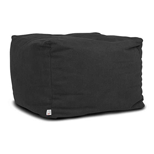 Arketicom Soft Cube Pouf Sac Design Repose-Pieds Dehoussable 60x42 cm Noir