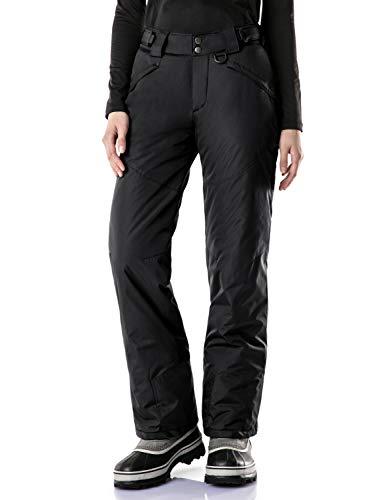 TSLA Women's Snow Pants Windproof Ski Insulated Water-Repel Rip-Stop Bottoms, Snow Pants(xkb90) - Black, Medium-Short [Waist 27.5-29.5_Hips 41-43 Inch]