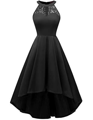 DRESSTELLS Damen 50er Vintage Rockabilly Kleid Neckholder Cocktailkleid Vokuhila Festliche Kleider für Hochzeit Black L