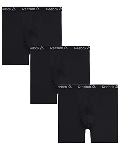 Reebok Men's Big and Tall Athletic Performance Boxer Briefs (3 Pack), Black/Black/Black, Size 3XL