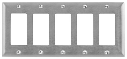 Bryant Electric SS265 Metallic Wallplate, 5-Gang, 5 Decorator/GFCI Openings, Standard Size, 302/304, StainlessSteel, With Removable White Protective Film