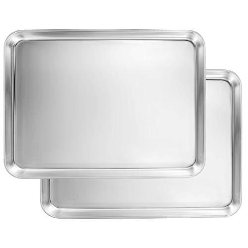 Baking Sheet Set of 2, Stainless Steel Baking Pans for Toaster Oven, Footek Cookie Baking Sheet 12.25L×9.65W×1H inch, Healthy & Superior Mirror Finish, Dishwasher Safe Baking Sheets