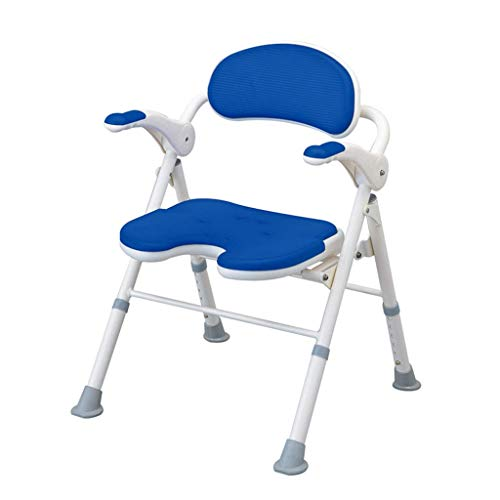 CAIS Shower Stool Tool-Free Assembly Folding Shower Stool, Height Adjustable Shower Chair Bench with Removable Back and Armrest Bathing Aid, Supportive Bath Chair, 150Kg Load Capacity Bathroom