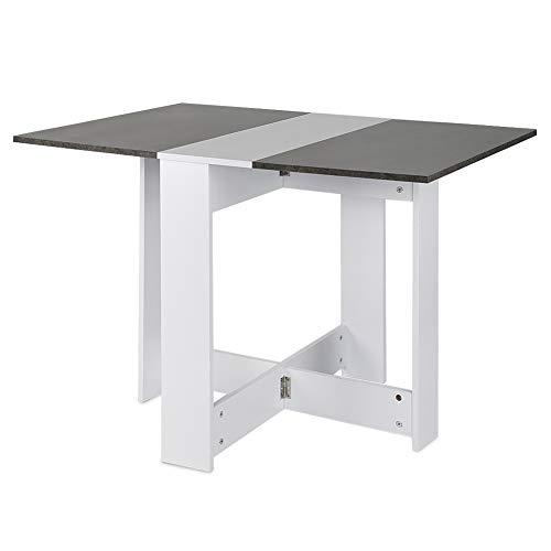 Flyelf Klapptisch klappbar Esstisch Beistelltisch Küchentisch Esszimmertisch 103x73.4x76cm (Weiß+Beton)