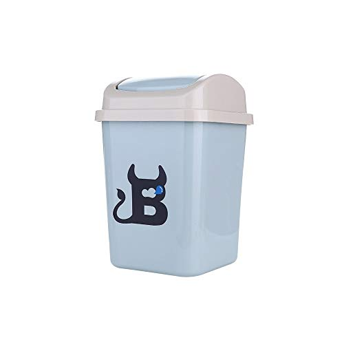 XVXFZEG Trash Can, Persönlichkeit Kunststoff bruchsicheren Abfalleimer Mülleimer, Covered for Badezimmer, Küchen, Home Offices, Kinderzimmer, Bad, mit Deckel Altpapier Trash Can 12L (Color : Blau)