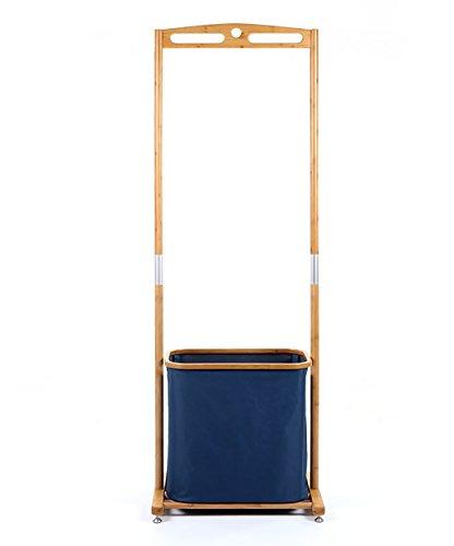 ZHANWEI Perchero Burro Perchero Ropa Bambú con la Cesta Azul del almacenaje, Color Madera, 155cm de Altura Opcional Bastidores De Ropa