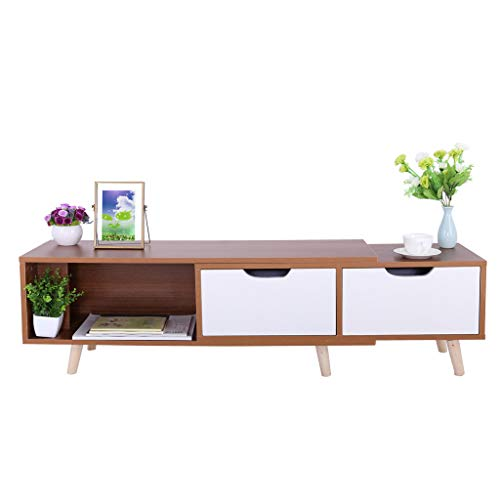 US Fast Shipment Quaanti Modern Length Stretchable TV Stand,TV Cabinet with Doors and Shelves,Media Console Table with 2 Drawers for Living Room Furniture,Accommodates 55' TV Size to 75' TV (Wild oak)