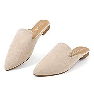 MUSSHOE Mules for Women Slip On Comfortable Pointed Toe Womens Loafers Women's Flats for Women's Mules & Clogs,Beige Suede 8