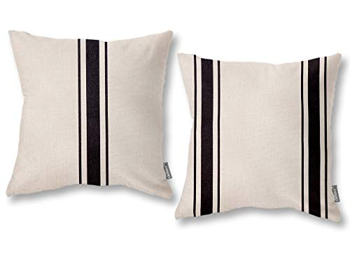 ONWAY Farmhouse Throw Pillow Covers 18x18 Rustic Indoor Outdoor Decorative Black and White Throw Pillows for Home Sofa and Couch, Set of 2