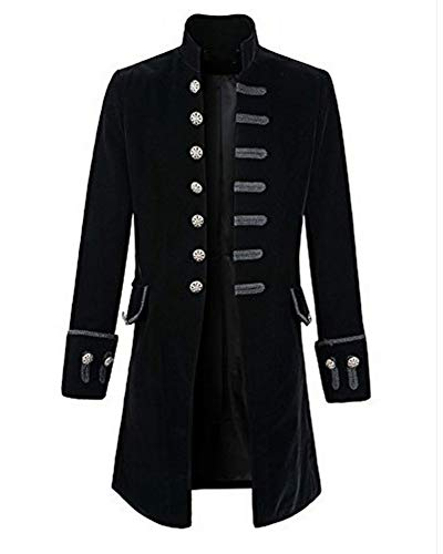 Runyue Uomo Giacca Lunga Steampunk Vintage Tailcoat Cappotto per Costume Vittoriano Halloween Costume Nero XL