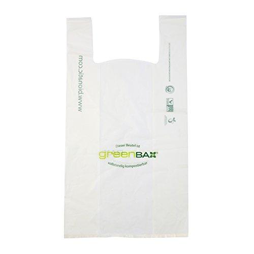 BIOZOYG Sacs de Plastique Bio compostables I Sacs de bioplastique biodégradables de Mater-Bi pour Shopping Blanc I 1000 Sacs de Transport 24x13,5x39cm