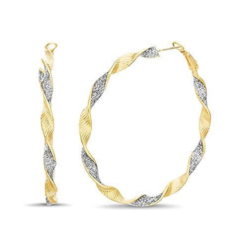 Steve Madden 45mm Textured Two Tone Twisted Glitter Hoop Earrings for Women