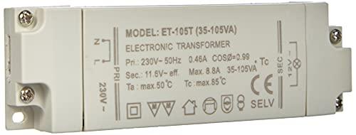Transmedia Halogen-Trafo 230/12V/35-105W, Überlastungsschutz, Temperatursicherung, nicht dimmbar, 130 x 43 x 20 mm Slim, LT2-2L