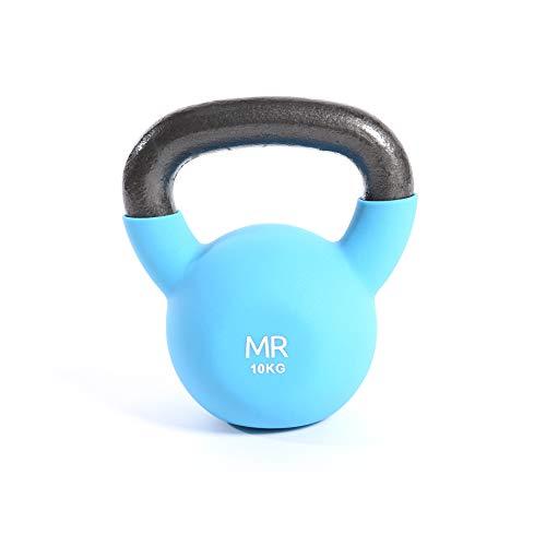 Rebecca Mobili Kettlebel Peso Palestra, Ghisa Rivestimento Neoprene, per Allenamento Braccia Gambe Home Fitness (Azzurro - 10 kg)