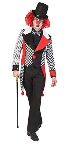 Karneval-Klamotten Harlekin Clown Pierrot Herren-Kostüm Narren Männer schwarz weiß rot Größe 56/58