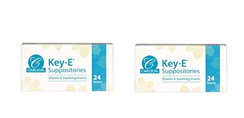 Carlson Labs Key-E Suppositories Vitamin E Soothing Inserts (2 Packages of 24 Inserts, 48Count)