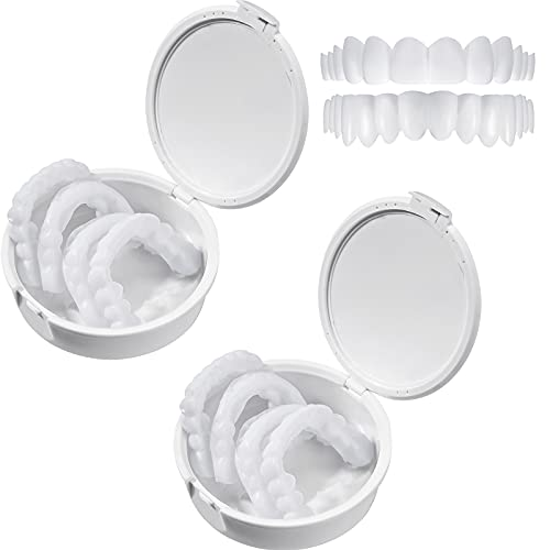 2 Paar Prothesen Kosmetische Zähne Instant Veneers Dental Silikon Zahnaufhellung Temporäre Prothese Zähne Oben Unten Falsche Zähne Zahnprothesen Zahnspangen Zahnersatz Zahnprothese Abdeckung