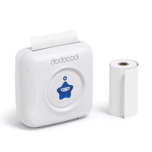 Thermofotodrucker, dodocool BT Fotodrucker Printer Tragbarer Drucker Bluetooth-Drucker mit 4.0 Bluetooth Android IOS Mini Drucker Tragbarer Drucker 1000mAh Kassenbon Memo Schwarzweiß-Bildgebung Mit einer Rolle von 57 * 30mm, Weiß