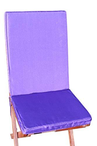 Garden Market Place Coussin de siège et Dossier pour Chaise Pliante Violet 95 x 45 x 35 cm