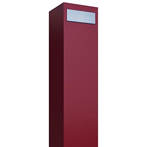 Standbriefkasten, Design Briefkasten Monolith Rot/Edelstahl - Bravios