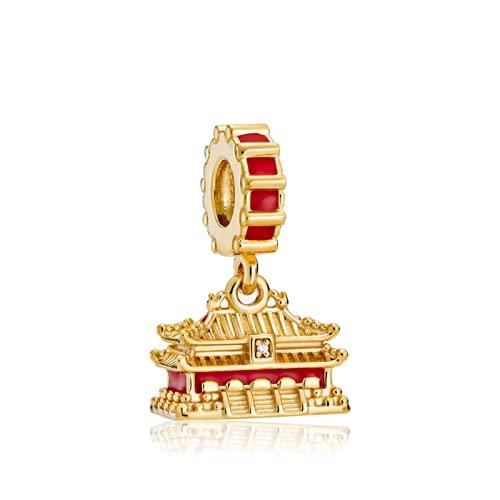 ZHANGCHEN Ciondoli doro nellarchitettura antica di Pechino, città proibita, creazione di gioielli di perle, accessori Pandora per bracciali e collane
