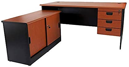 Mahmayi Metal/Wood/Particle Board Silini Plain L Office Desk with Fixed Drawer, GE160LHD, Cherry/Black, H72 x W178 x D160 cm