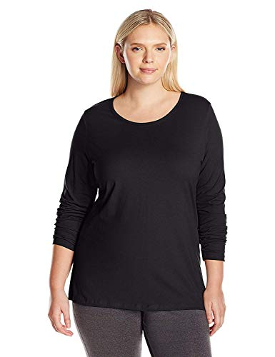 Just My Size Women's Plus Size Long Sleeve Tee, Ebony, 2X